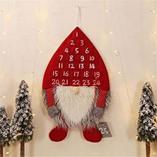 m·kvfa Christmas Wall Hanging Ornaments Decoration Forest Man Calendar Christmas Calendar Wall Pendant for Holiday Party Indoor Outdoor Fireplace Show Window (Red)
