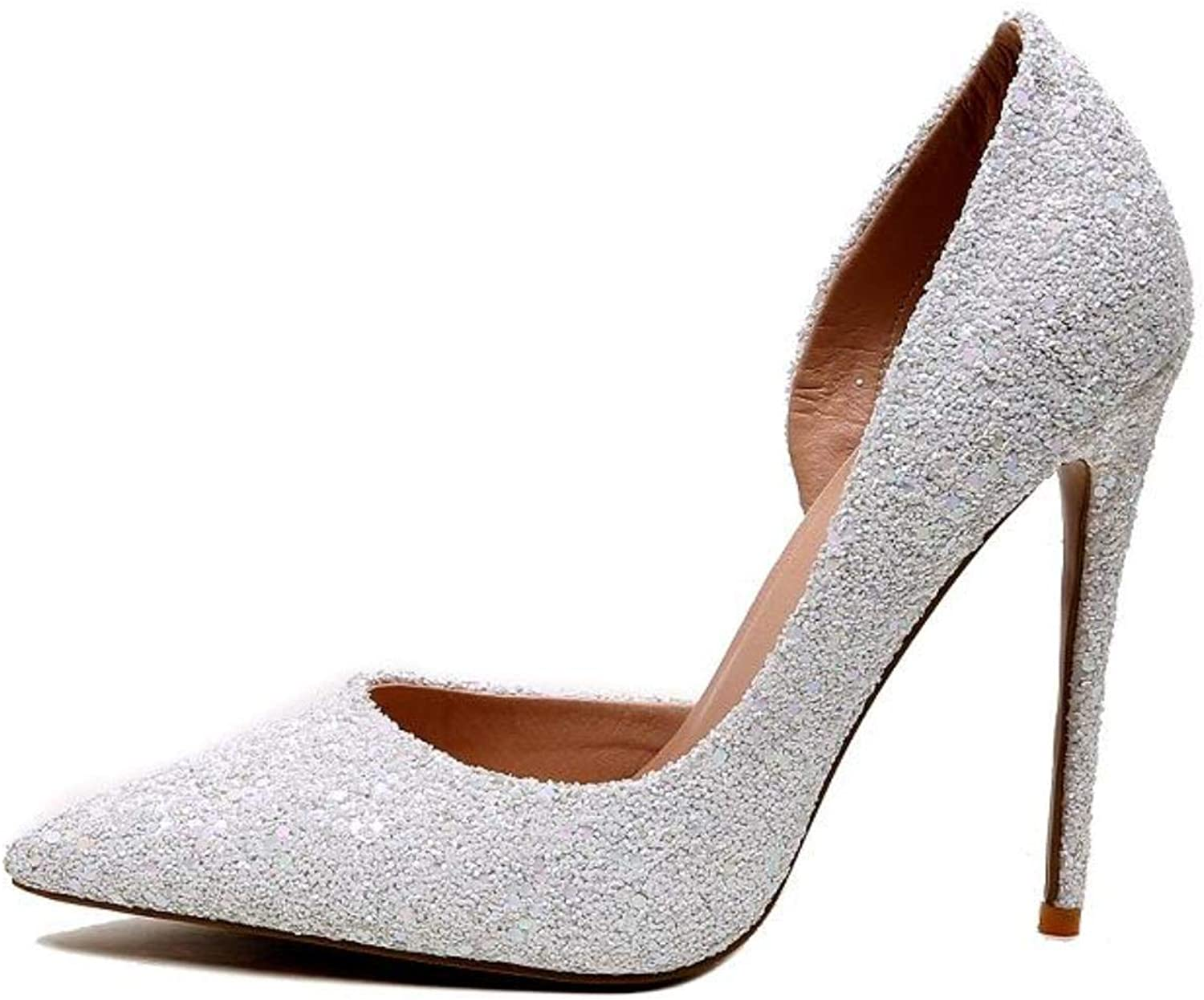High Heels Slip-on Stiletto Sequined Cloth Wedding shoes For Woman