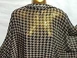 weiche Crinkle Chiffon Schwarz/Braun Dogtooth Print-Kleid