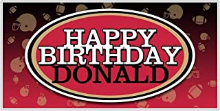 Football Party Red and Black Personalized Birthday Banner Decoration