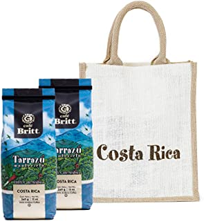 Café Britt - Costa Rican Tarrazu Gift Set (12 oz.) (2-Pack) With Gift Bag - Whole Bean Arabica Coffee, Kosher, Gluten Free, 100% Gourmet & Dark Roast (1 Year Shelf-Life)
