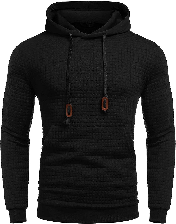 Men's Athletic Hoodies Jacket Running Sports Plaid Regular Fit Hooded Sweatshirt Muscle Pullover Outwear Tops