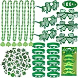 Max Fun 108pcs St Patricks Day Shamrock Party Favors Set for Festivals,Parades,and Irish Themed Party Decoration