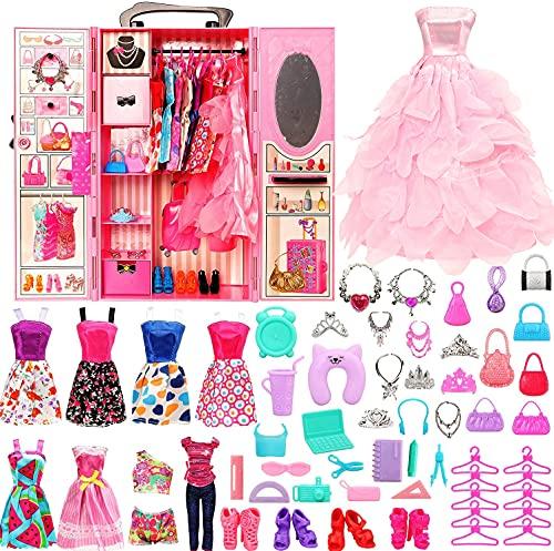 Festfun Fashion Armoire de Poupée avec 68 Accessoires pour Poupée de 11,5 Pouces 1 Penderie 9 Vêtements de poupée, 16 Accessoires, 6 Colliers, 6 Couronnes, 10 Chaussures, 10 Cintres, 10 Sacs