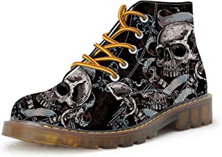 FIRST DANCE Shoes Mens Skull Boots Martins Skull Shoes for Men Skeleton Print Black Ankle Men Black Shoes(US5.5-US16)