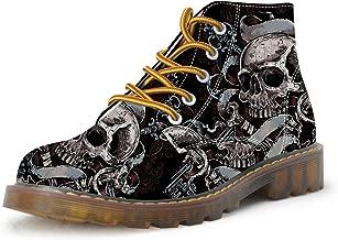 FIRST DANCE Shoes Mens Skull Boots Martins Skull Shoes for Men Skeleton Print Black Ankle Men Black Shoes(US5.5-US16)