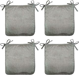 SIMPVALE Juego de 4 Cojines Antideslizante Sillones Cojines de Sillas para Oficina en Casa Jardín Interior Exterior (40cm x 40cm x 1cm, Marrón Claro)