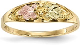 10k Tri Color Black Hills Gold Band Ring Size 7.00 Flowers/leaf Fine Jewelry Gifts For Women For Her