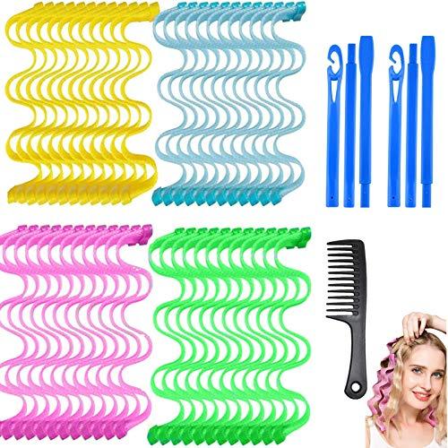 36 piezas de rizadores de pelo en espiral mágicos juego de herramientas para peinar el cabello sin calor flexibles con ganchos de peinado para mujeres y niñas 45cm