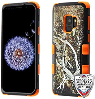 MyBat Cell Phone Case for Samsung Galaxy S9 - Yellow/Black Vine/Orange Image