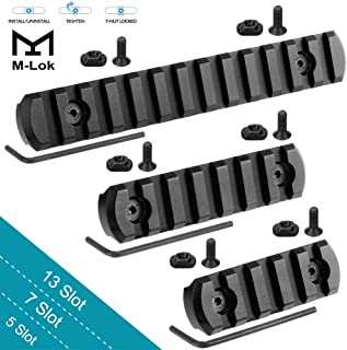GoldCam M-Lok Picatinny Rail, 13-Slot 7-Slot 5-Slot Mlok Aluminum Picatinny Rails Section for M LOK Systems with 7 T-Nuts & 7 Screws & 3 Allen Wrench, 3 Pack - Black