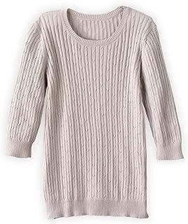 Fair Trade Organic 3/4-sleeve Cable Crew Sweater