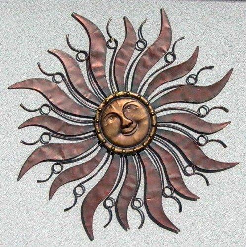 Unbekannt Wandhänger Wandschmuck Sonne aus Metall 96 cm