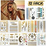 DYFFLE Festival Glitzer Temporäre Tattoos - 12 Sheets Goldene Tattoos Wasserdicht Festival...