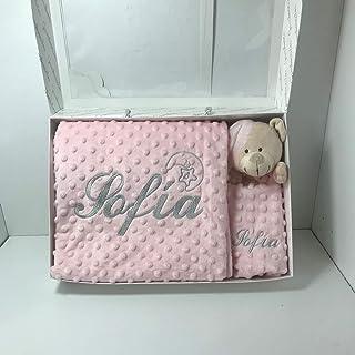 Manta bebé minicuna y capazo más dou-dou, doble capa rosa bebé, personalizada con el nombre bordado (medidas 80 x 110 cm.)