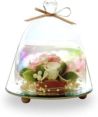 プリザーブドフラワー IPFA ガラスドーム エレガンス [バラ プレゼント] 花/ギフト/結婚記念日/誕生日 (ピンク×ホワイト)