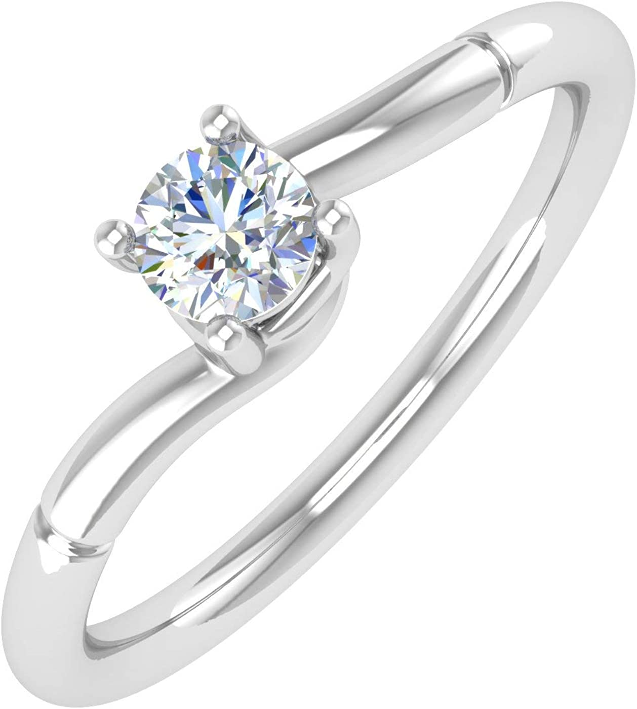 1/4 Carat 4-Prong Set Diamond Solitaire Engagement Ring Band in 10K Gold