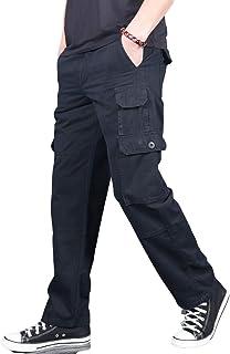 Pantalones de Trabajo de Combate de Carga para Hombre Pantalones tácticos Color sólido Tamaño Grande a Prueba de Viento Ri...