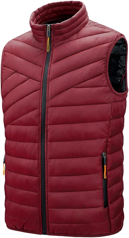 Huangse Men's Winter Warm Puffer Vest Ultra Lightweight Sleeveless Insulated Down Vest