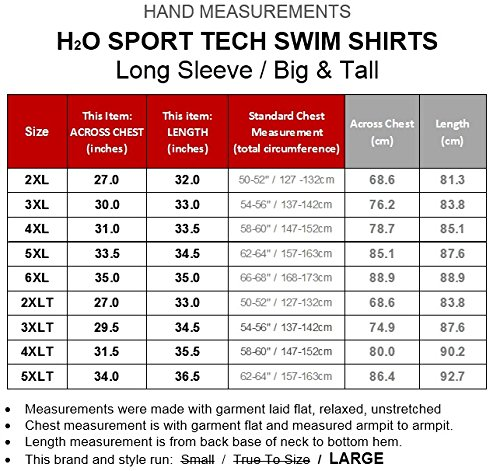 H2O Sport Tech Big & Tall Men's Long Sleeve Swim Shirt – Loose Fit