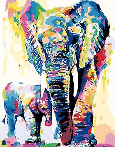 DIY Malen nach Zahlen für Erwachsene Kinder Mädchen, Wowdecor Wald Elefant Familie Bunt 40x50 cm Vorgedruckt Leinwand-Ölgemälde (mit Rahmen)