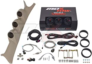 MaxTow Diesel Gauge Package for 1999-2007 Ford Super Duty F-250 F-350 6.0L 7.3L Power Stroke - Black & Green 60 PSI Boost, 1500 F Pyrometer EGT & Transmission Temp Gauges - Tan Triple Pillar Pod
