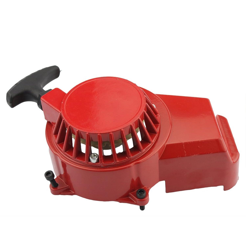 GOOFIT Alloy Pull Start Recoil Starter for 2 Stroke 47cc 49cc Pocket Dirt Bike Mini ATV Red
