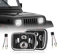 TRUCKMALL 5x7 DOT 7x6 inch LED Headlights Headlamps Bulbs Light Set Kit for Jeep Cherokee XJ Wrangler YJ Comanche MJ Toyota Corolla Tacoma Ford F350 Pickup Car Truck Van Black