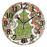 Kncsru Feliz Navidad muñeco de Nieve Ciervo calcetín Sombrero Reloj de Pared silencioso operado por ...