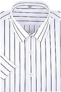 Men's Business Short Sleeve Vertical Striped Dress Shirts