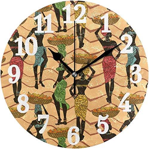 tuobaysj Reloj de Pared Redondo Retro Mujeres africanas Reloj de decoración de Arte para el hogar Vintage para Oficina en casa