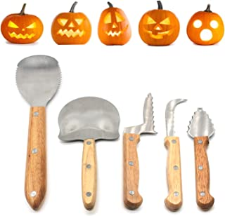 SOOBA Pumpkin Carving Kit for Halloween Jack-O-Lanterns Cutting Sculpting Tools 5 Pieces Stainless Steel Carve Sculpt Tool...