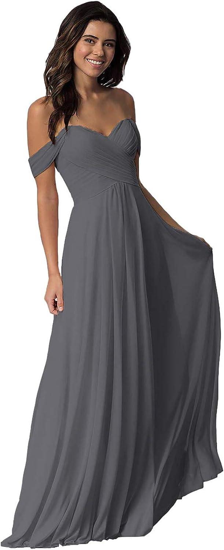 YUSHENGSM Women's Off The Shoulder Chiffon Bridesmaid Dresses Long Formal Evening Wedding Prom Gown Maxi Skirt