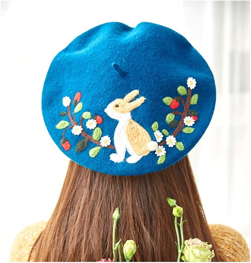 LHZUS Hats Casual Animal Cute Painter Hat Original Handmade Wool Felt Berets Creative Valentine's Day Girlfriend Gift Lovely Hat (Color : 2, Size : 56-58CM)