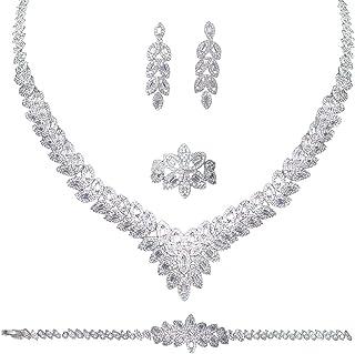 Aoligrace 4Pcs Luxury 3A Cubic Zirconia Leaf Design Jewelry Set Arabic Dubai CZ Necklace Earring Bracelet and Ring Set for...