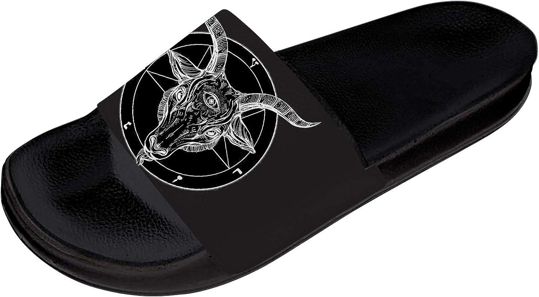 Satan Slides Mens Womens Athletic Sport Slides Sandals Pentagram Demon Baphomet Satanic