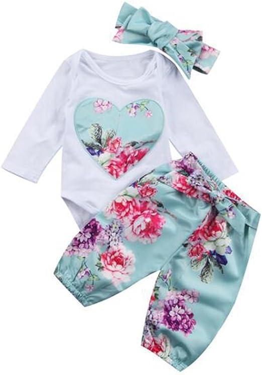 greatmtx Ropa Beb/é ni/ña Floral Sudadera con Capucha Tops Pantalones Diadema para ni/ñas reci/én Nacidos