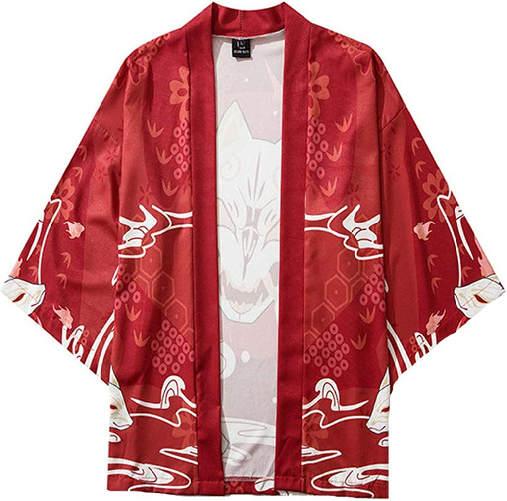 F_Gotal Men's Kimono Jackets Cardigan Casual Lightweight Seven Sleeves Open Front Coat Outwear Mens Womens Couple Cloak