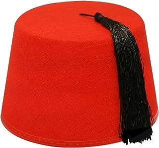 Village Hats Chapeau Fez Bordeaux avec Houppe Noire
