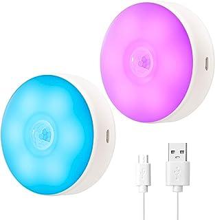 SingHong Rörelsesensor LED nattlampa, USB uppladdningsbar, 8 belysningsfärger, 3 arbetslägen, magnetsticka var som helst, ...