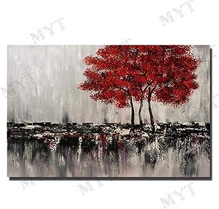 Peinture À l'huile 100% Peinte À La Main sur Toile,Modèle Rouge Rouge Moderne De Grande Plante D'Arbre,Grand Couteau Europ...