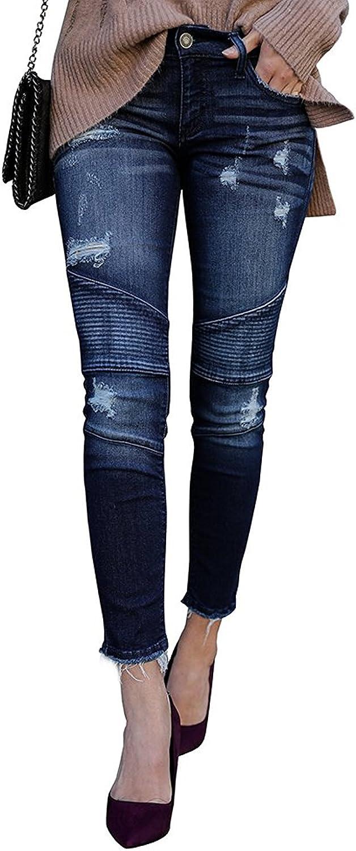 Kancan Distressed Motto Denim Ankle Skinny Jeans