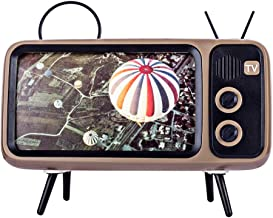 Goshfun PTH800 Retro tv Bluetooth Speaker Mobile Phone Holder, Wireless Retro TV Shape Phone Stand Accessories, Desktop Cell Phone Stand for Phones with 4.7-5.5 Inch Screen, Coffee