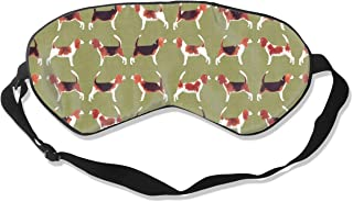 Beagle Meets Beagle Green Silk Sleep Mask Comfortable Blindfold Eye mask Adjustable for Men, Women or Kids