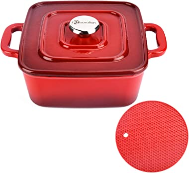 Kinovation Dutch Oven, 3 Quart Enamel Coated Cast Iron Square Cookware Pot with Lid & Silicone Mat, For Induction, Gas, Ceram
