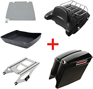 XFMT Chopped Tour Pack Trunk Rack Backrest Luggage Rack Saddlebags Compatible with Harley Davidson Touring Street Glide 2014-2018 CVO Road King FLHRSE6 2014