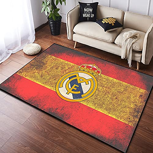 Meinianda Alfombra rectángulo Moderno Rojo Amarillo Costura nórdico Antiguo fútbol Logo Real Madrid Equipo niño habitación Infantil Junto a la Cama Alfombra de Gateo para bebés 60 * 90 cm