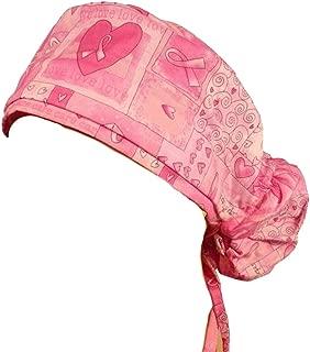 Big Hair Women's Medical Scrub Caps - Pink Ribbon Squares