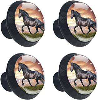 Black Running Horse Cabinet Knobs 4 Pieces Drawer Handle Scratch Proof Crystal Glass 3D Display Decoration Pulls for Wardrobe Cupboard Closet 3.5×2.8CM