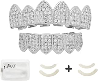 Pave Full CZ Grillz Vampire Fangs 6 Teeth Top and Bottom Set Grills + Extra 2 Molding Bars